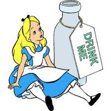 Alice with bottle